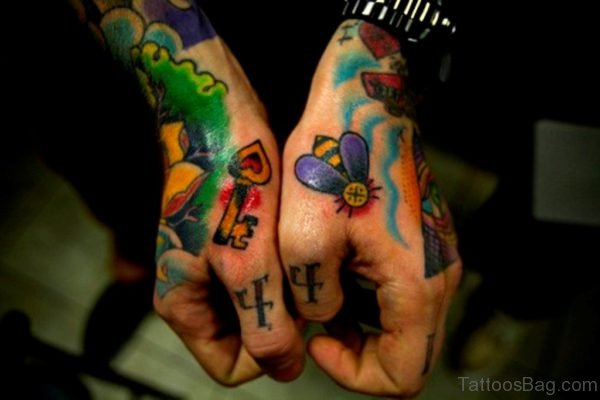 Key And Bee Tattoo On Hand