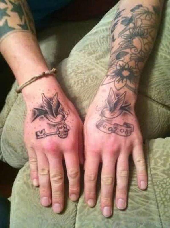 Key And Bird Tattoo On Hand
