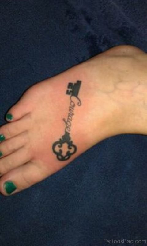 Key Tattoo On Foot