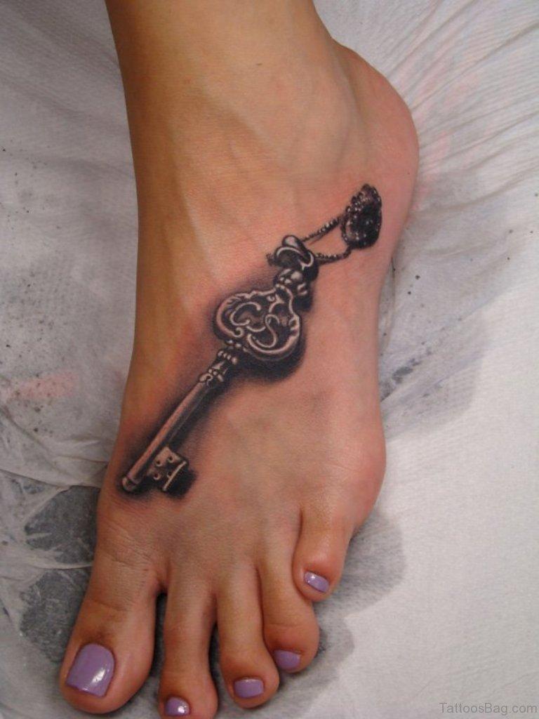 Small Key Tattoo: 36 Elegant Key Tattoos On Foot