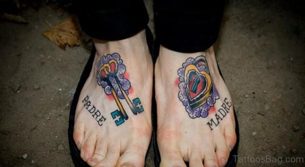 Keys n Lock Tattoo Design On Feet
