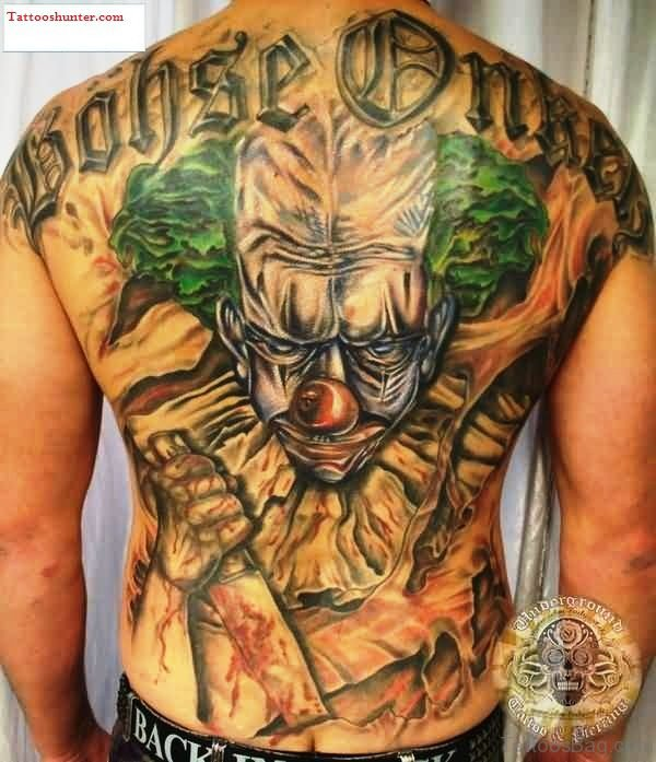 Killer Clown Tattoo On Back