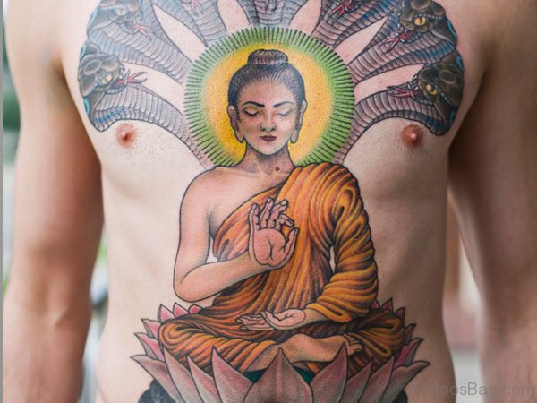 Kind Buddha Tattoo On Chest