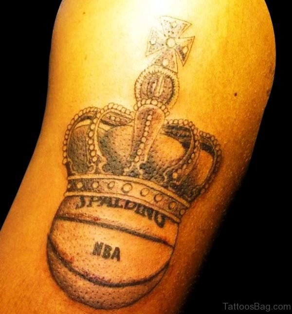 King Basketball Tattoo On Shoulder