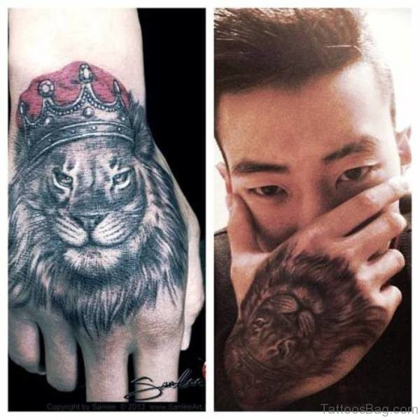 King Lion Tattoo On Hand