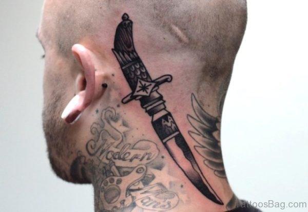 Knife Tattoo On Neck
