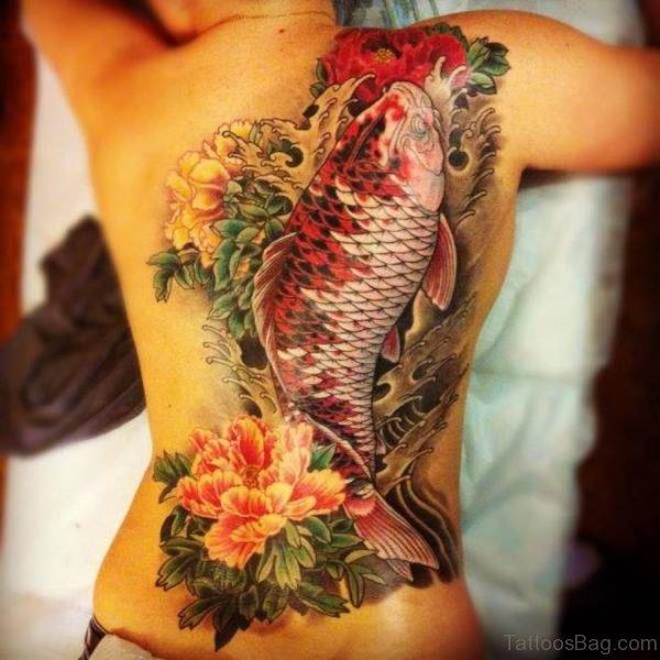 Koi Fish Tattoo On back