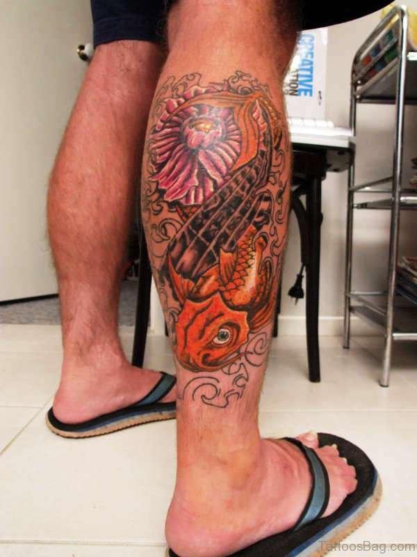 Koi Fish And Flower Tattoo On Calf
