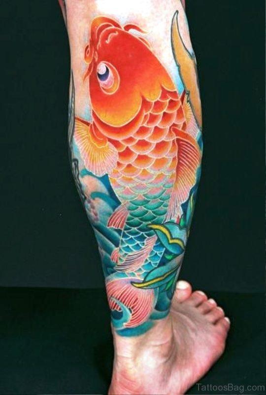 Koi Fish Tattoo On Calf