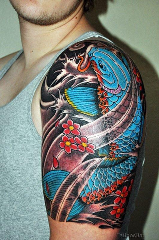 Koi Fish Tattoo On Shoulder
