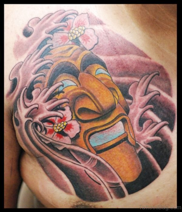 Korean Mask Color Ink Chest Tattoo