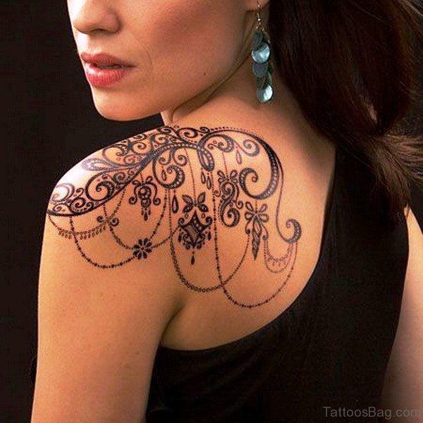 Lace Tattoo Design On Shoulder