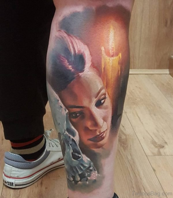 Lady Portrait Tattoo On Leg