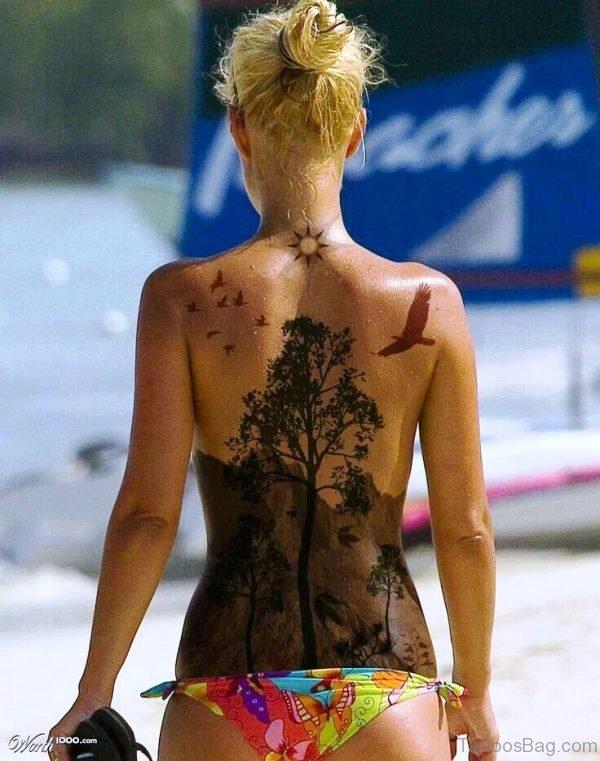 Landscape Tattoo On Back
