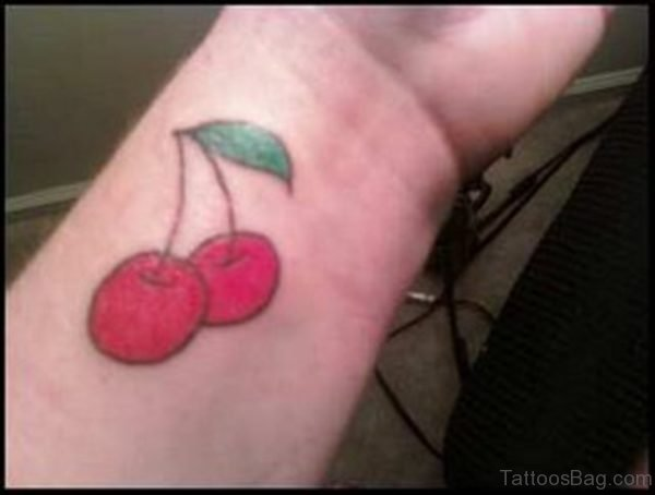 Large Cherry Tattoo On Wrist