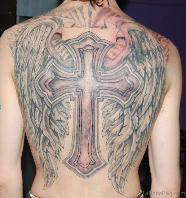Large Cross Tattoo On Back