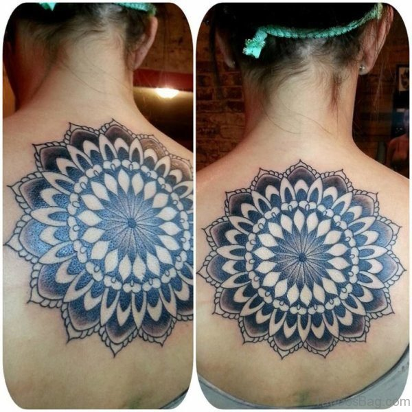 Large Mandala Tattoo On Back Neck