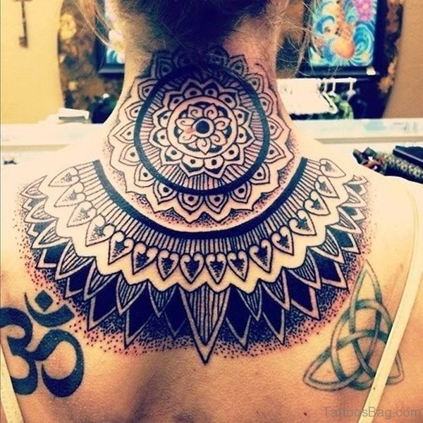 Large Mandala Tattoo On Neck