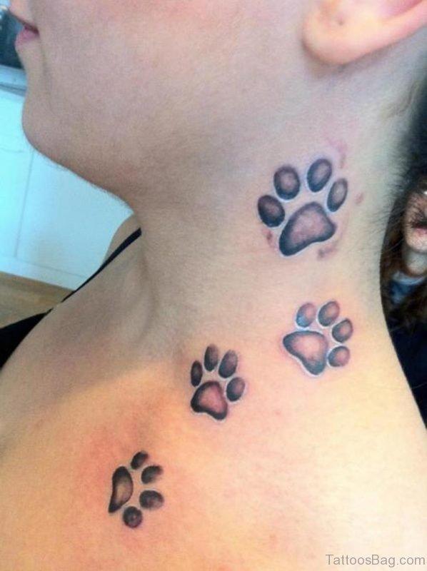 Large Paw Neck Tattoo