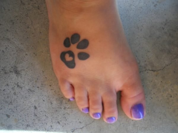 Large Paw Tattoo On Foot