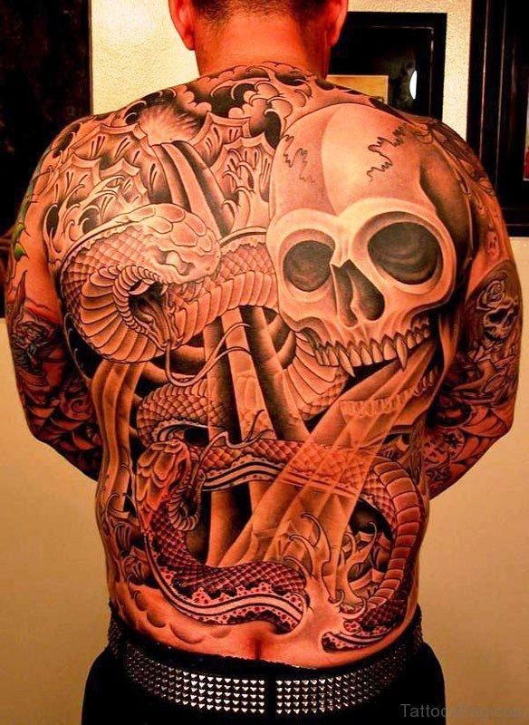 Large Skull Tattoo On Back