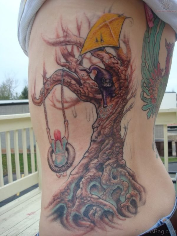 Large Tree Tattoo On Rib