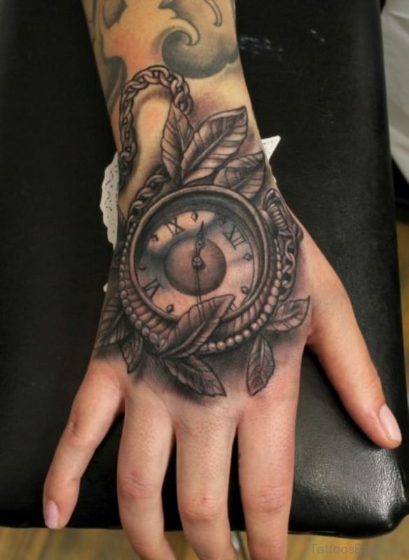 Leaf And Clock Tattoo