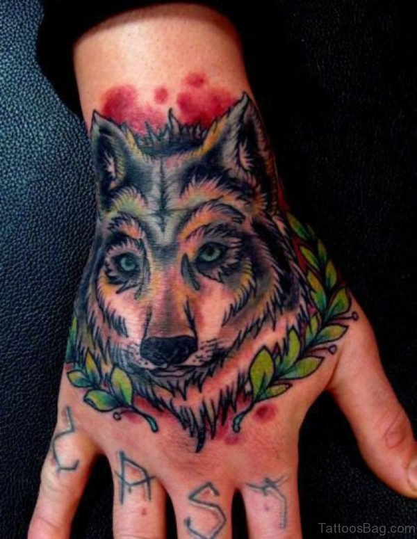 Leaf And Wolf Tattoo