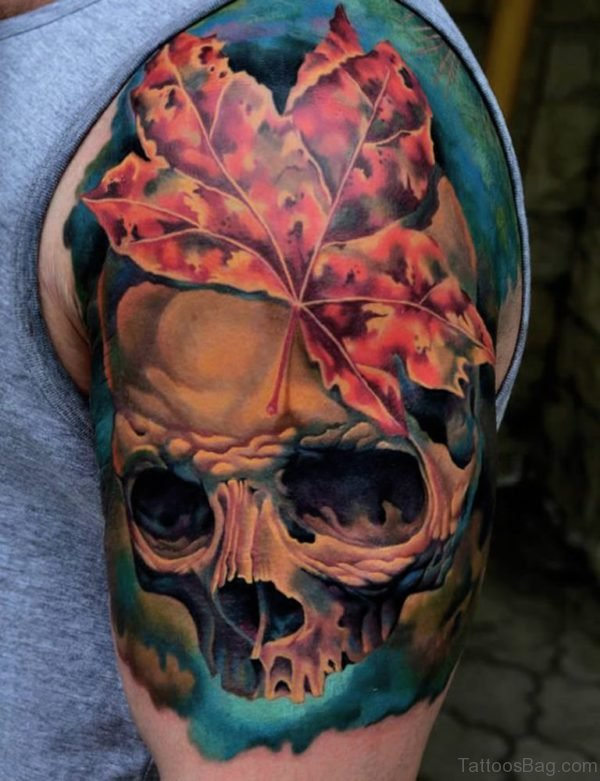 Leaf Skull Tattoo On Shoulder For Men