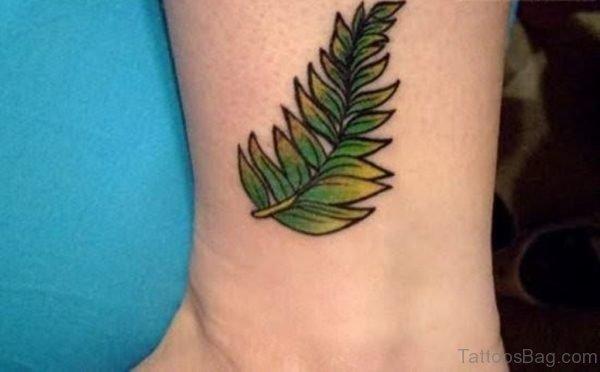 Leaf Tattoo On Ankle