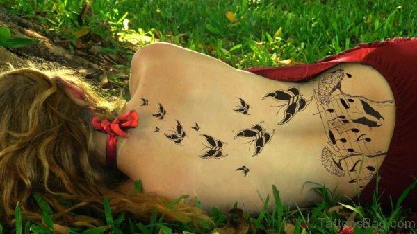 Leaves Tattoo Design On Back
