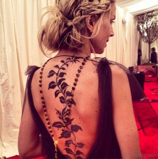 Leaves Vine Tattoo On Back