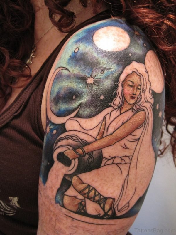 Left Shoulder Colored Aquarius Tattoo