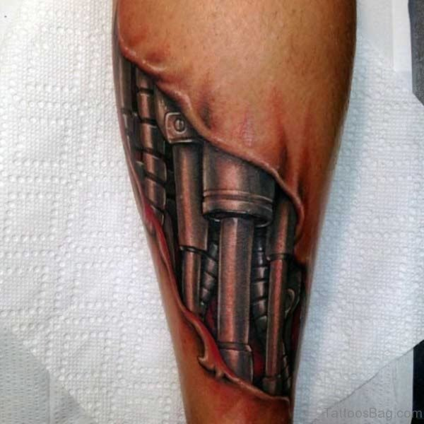 Leg Mechanical Tattoo