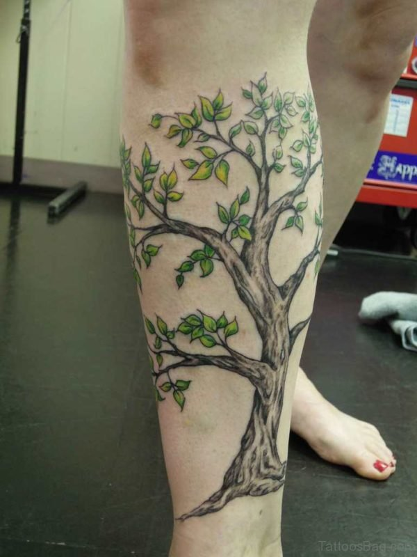 Leg Tree Tattoo Design For Girls