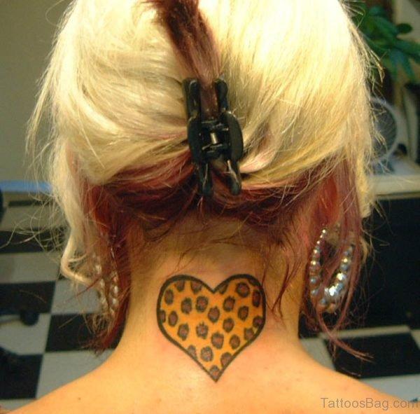 Leopard Heart Tattoo On Nape