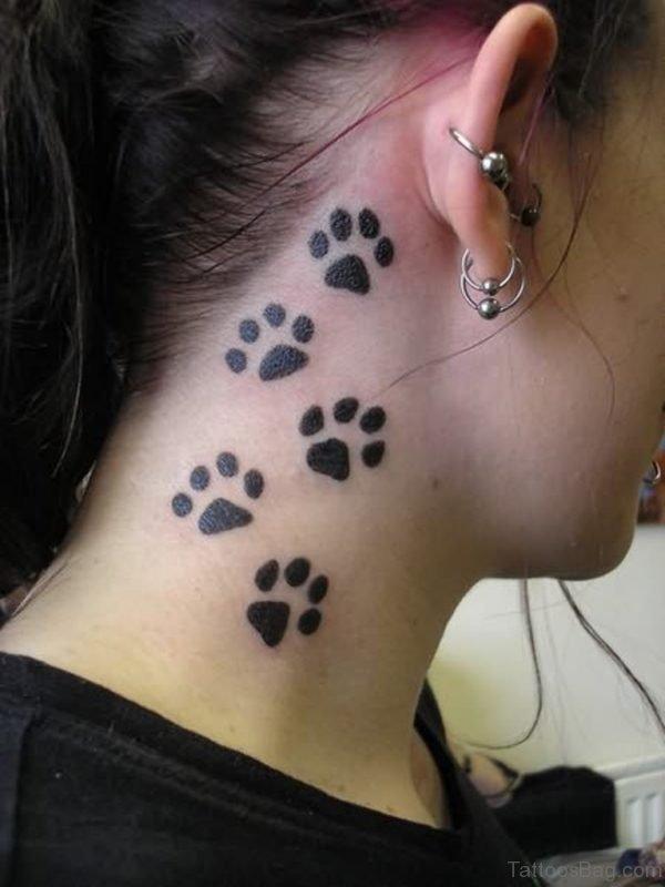 Leopard Paw Neck Tattoo
