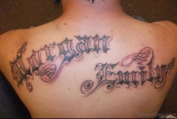 Lettering Tattoo Designs On Back For Men