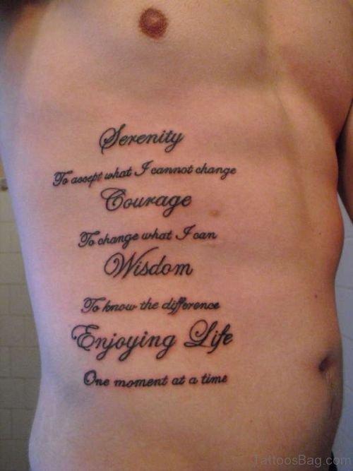 Lettering Tattoo On Rib