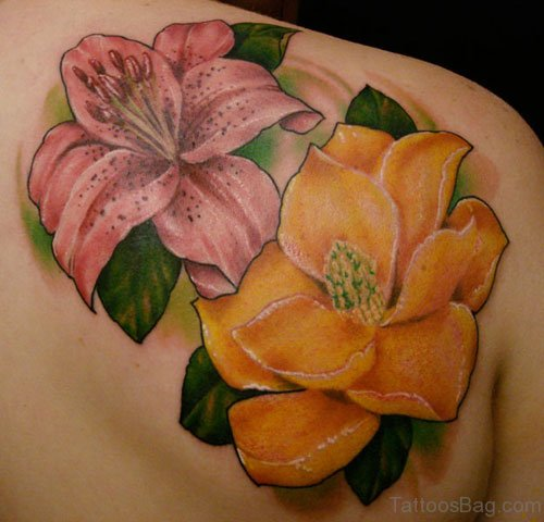 Lily Flower Tattoo Design On Back
