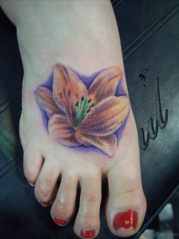 Lily Flower Tattoo On Foot