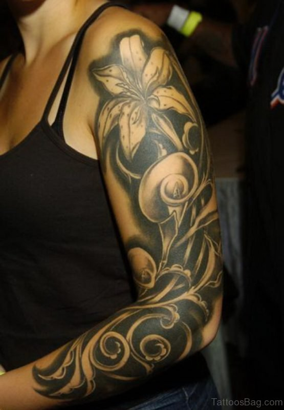 Lily Flower Tattoo On Full Sleeve