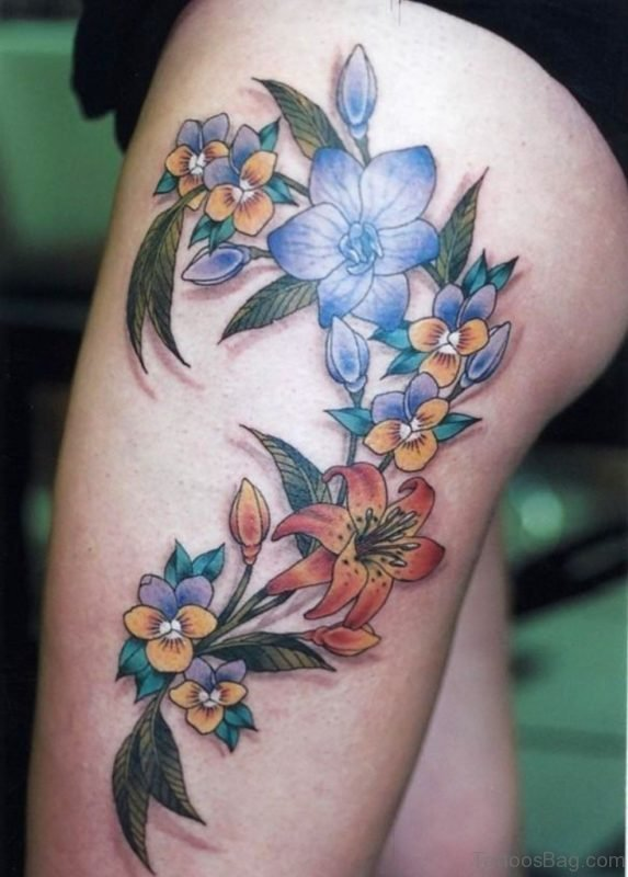 Lily Flower Tattoo On Thigh
