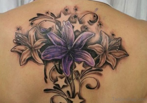 Lily Flowers Tattoo On Upper Back