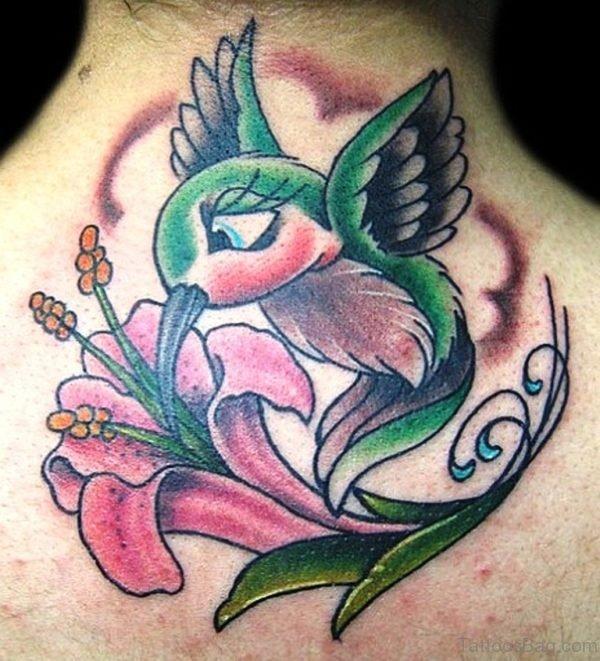 Lily Hummingbird Tattoo On Nape