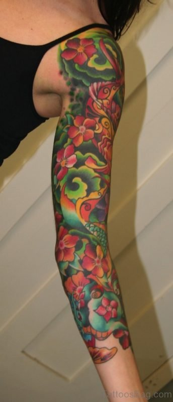 Lily Tattoo On Full Sleeve