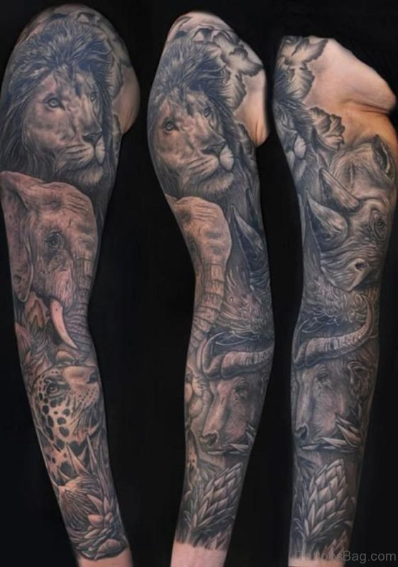 Lion And Elephant Tattoo On full Sleeve