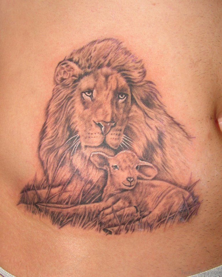 16 elegant lion tattoos on stomach. Black Bedroom Furniture Sets. Home Design Ideas