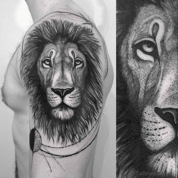Lion Face Shoulder Tattoo