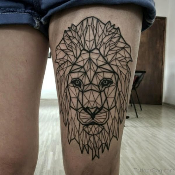 Lion Face Tattoo Design On Thigh